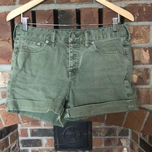 Madewell green denim shorts Sz 27